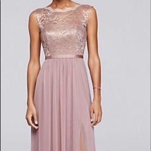 Rose gold dress.
